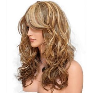 Big Wave Brown Blonde Synthetic Hair Long Wavy Wig